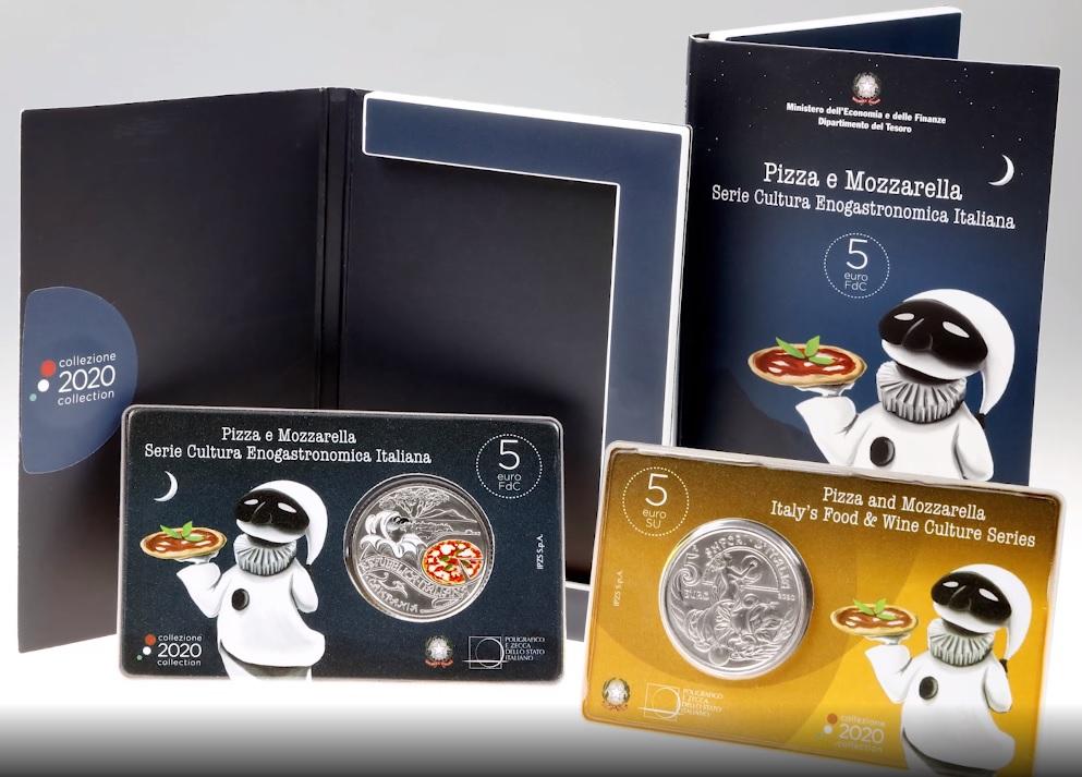 brochure pizza conio moneta 5 euro- zecca stato