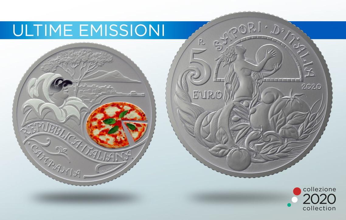 pizza moneta da 5 euro. zecca stato